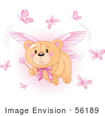 #56189 Royalty-Free (Rf) Clip Art Of A Teddy Bear Fairy With Pink Butterflies And A Wand