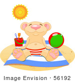 #56192 Clip Art Of A Relaxed Bear Soaking Up The Sun On A Beach