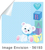 #56193 Royalty-Free (Rf) Clip Art Of A White Teddy Bear Leaning Against Baby Blocks On A Peeling Blue Background