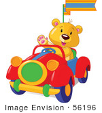 #56196 Royalty-Free (Rf) Clip Art Of A Teddy Bear Waving And Driving A Convertible Car