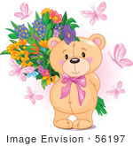 #56197 Royalty-Free (Rf) Clip Art Of Pink Butterflies Surrounding A Sweet Teddy Bear Holding A Floral Bouquet Behind Its Back