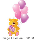 #56198 Royalty-Free (Rf) Clip Art Of A Teddy Bear With A Gift And Pink Balloons