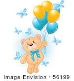 #56199 Royalty-Free (Rf) Clip Art Of A Boy Teddy Bear Floating Away With Butterflies And Balloons