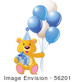 #56201 Royalty-Free (Rf) Clip Art Of A Teddy Bear With A Gift Party Hat And Blue Balloons