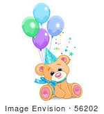 #56202 Clip Art Of A Cute Male Birthday Bear Wearing A Party Hat And Sitting With Balloons