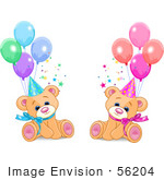 #56204 Clip Art Of Male And Female Twin Birthday Bears Wearing Party Hats And Sitting With Balloons