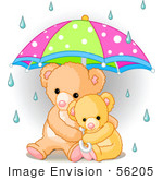 #56205 Clip Art Of A Baby Teddy Bear Cuddling With Its Mother Under An Umbrella On A Rainy Day