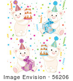 #56206 Royalty-Free (Rf) Clip Art Of A Digital Collage Of Birthday Polar Bears With Cakes Presents And Confetti