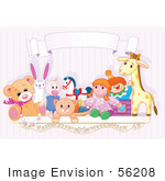 #56208 Royalty-Free (Rf) Clip Art Of A Toy Shelf With Stuffed Animals And A Jack In The Box Under A Blank Banner Against A Pink Wall