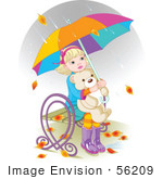 #56209 Royalty-Free (Rf) Clip Art Of Autumn Leaves And Rain Falling Around A Little Girl Hugging Her Teddy Bear And Sitting On A Bench Under An Umbrella