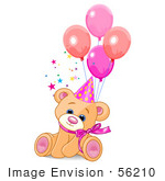 #56210 Clip Art Of A Cute Feale Birthday Bear Wearing A Party Hat And Sitting With Balloons