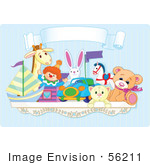 #56211 Royalty-Free (Rf) Clip Art Of A Toy Shelf With Stuffed Animals And A Jack In The Box Under A Blank Banner Against A Blue Wall