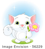#56229 Clip Art Illustration Of An Adorable White Kitten With Green Eyes Holding A Pink Flower