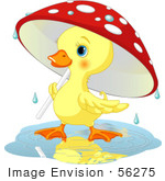 #56275 Clip Artillustration Of A Cute Yellow Duckling Strolling Under A Mushroom Umbrella On A Rainy Spring Day