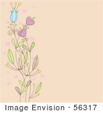 #56317 Royalty-Free (Rf) Clip Art Illustration Of A Beige Background With A Left Border Of Flowers And Hearts