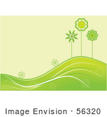 #56320 Royalty-Free (Rf) Clip Art Illustration Of A Summer Green Background Of Flowers And Trees Growing On Rolling Hills