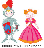 #56367 Royalty-Free (Rf) Clip Art Illustration Of A Proud Knight Boy Standing By A Pretty Princess