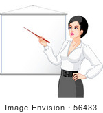 #56433 Royalty-Free (Rf) Clip Art Illustration Of A Female Teacher Pointing To A Blank Piece Of Paper