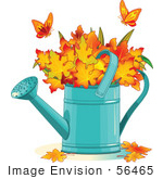 #56465 Royalty-Free (Rf) Clip Art Illustration Of Two Butterflies Over Autumn Leaves In A Watering Can