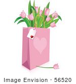 #56520 Royalty-Free (Rf) Clip Art Illustration Of A Blank Tag On A Pink Heart Shopping Bag Full Of Pink Tulips
