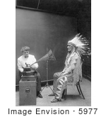 #5977 Piegan Indian, Mountain Chief and Phonograph by JVPD