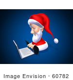 #60782 Royalty-Free (Rf) Illustration Of A 3d Santa Using A Laptop - Version 1