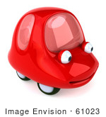 #61023 Royalty-Free (Rf) Illustration Of A 3d Red Car Character Facing Right And Smiling - Version 2