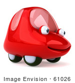 #61026 Royalty-Free (Rf) Illustration Of A 3d Red Car Character Facing Right And Smiling - Version 1