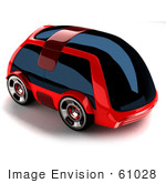 #61028 Royalty-Free (Rf) Illustration Of A 3d Futuristic Aerodynamic Red Car With Tinted Windows - Version 1