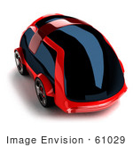 #61029 Royalty-Free (Rf) Illustration Of A 3d Futuristic Aerodynamic Red Car With Tinted Windows - Version 2
