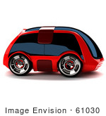 #61030 Royalty-Free (Rf) Illustration Of A 3d Futuristic Aerodynamic Red Car With Tinted Windows - Version 3