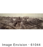 #61044 Royalty-Free Historical Stock Photo Of A Sepia View Of Boston Massachusetts Following The Fire November 9th And 10th In 1872