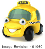 #61060 Royalty-Free (Rf) Illustration Of A 3d Yellow Taxi Cab Character - Version 1