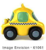 #61061 Royalty-Free (Rf) Illustration Of A 3d Yellow Taxi Cab Character - Version 2