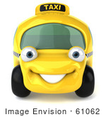 #61062 Royalty-Free (Rf) Illustration Of A 3d Yellow Taxi Cab Car Smiling