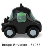 #61063 Royalty-Free (Rf) Illustration Of A 3d Black Taxi Cab Character - Version 2