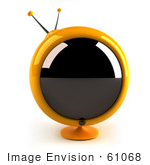 #61068 Royalty-Free (Rf) Illustration Of A 3d Round Yellow Retro Television - Version 1
