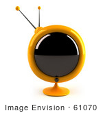 #61070 Royalty-Free (Rf) Illustration Of A 3d Round Yellow Retro Television - Version 4
