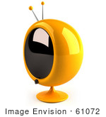 #61072 Royalty-Free (Rf) Illustration Of A 3d Round Yellow Retro Television - Version 7