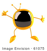 #61075 Royalty-Free (Rf) Illustration Of A 3d Yellow Square Television Character Jumping - Version 1