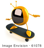 #61078 Royalty-Free (Rf) Illustration Of A 3d Yellow Square Television Character Skateboarding - Pose 2