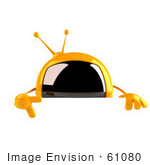 #61080 Royalty-Free (Rf) Illustration Of A 3d Yellow Square Television Character Pointing Down And Standing Behind A Blank Sign
