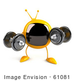 #61081 Royalty-Free (Rf) Illustration Of A 3d Yellow Square Television Character Lifting Weights