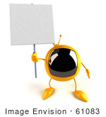 #61083 Royalty-Free (Rf) Illustration Of A 3d Yellow Square Television Character Holding Up A Blank Sign - Version 3
