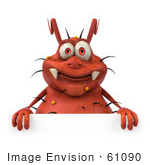 #61090 Royalty-Free (Rf) Illustration Of A 3d Virus Mascot Standing Behind A Blank Sign