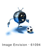 #61094 Royalty-Free (Rf) Illustration Of A 3d Chrome Tv Character Playing Soccer - Version 13
