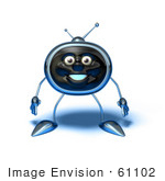 #61102 Royalty-Free (Rf) Illustration Of A 3d Chrome Tv Character Standing And Facing Front - Version 1