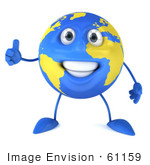 #61159 Royalty-Free (Rf) Illustration Of A 3d Blue And Yellow Globe Character Holding A Thumb Up