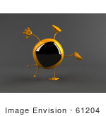 #61204 Royalty-Free (Rf) Illustration Of A 3d Yellow Square Tv Character Doing A Cartwheel - Version 2