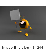 #61206 Royalty-Free (Rf) Illustration Of A 3d Yellow Square Tv Character Holding Up A Blank Sign - Version 2